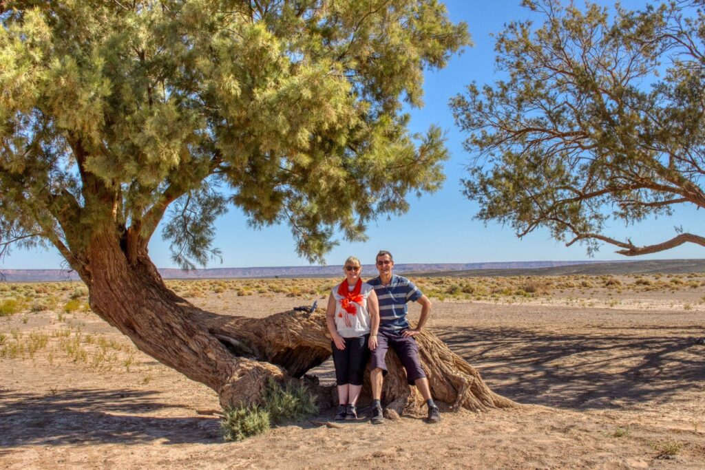 The writer and her husband sitting on a tree in the desert.