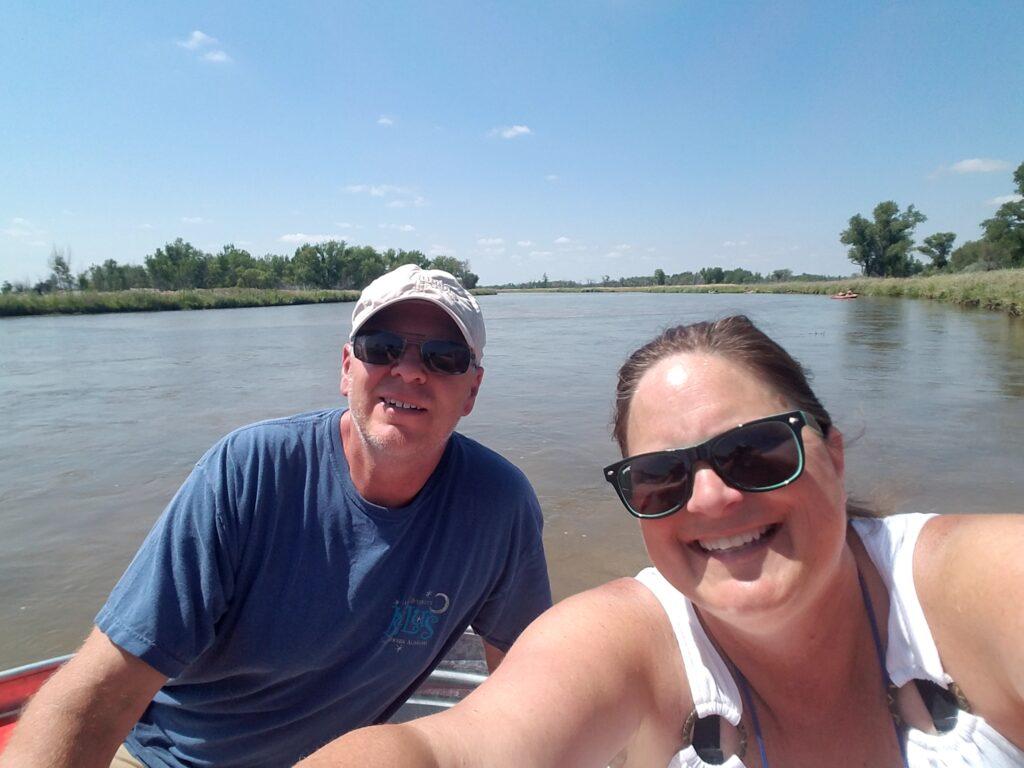 The writer and her husband tanking in Nebraska.