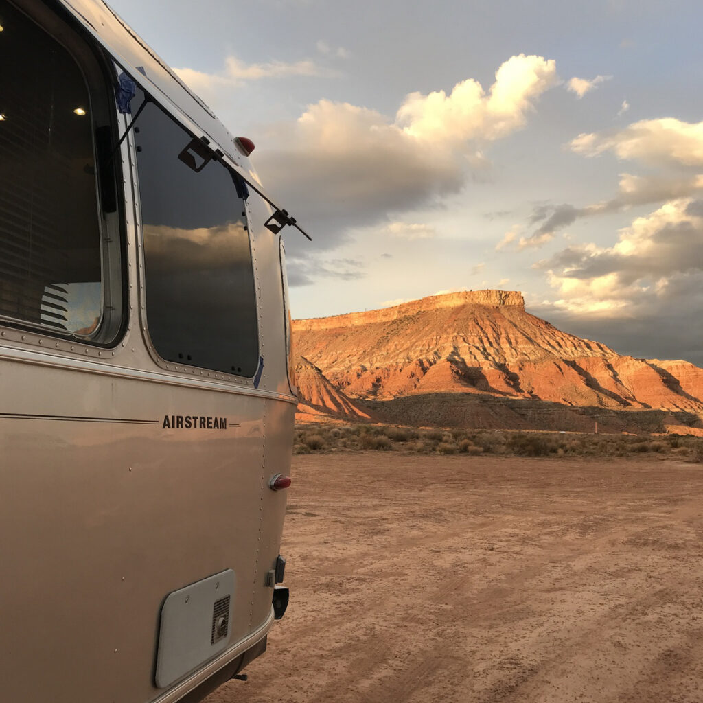 The writer at an RV resort in Zion National Park.