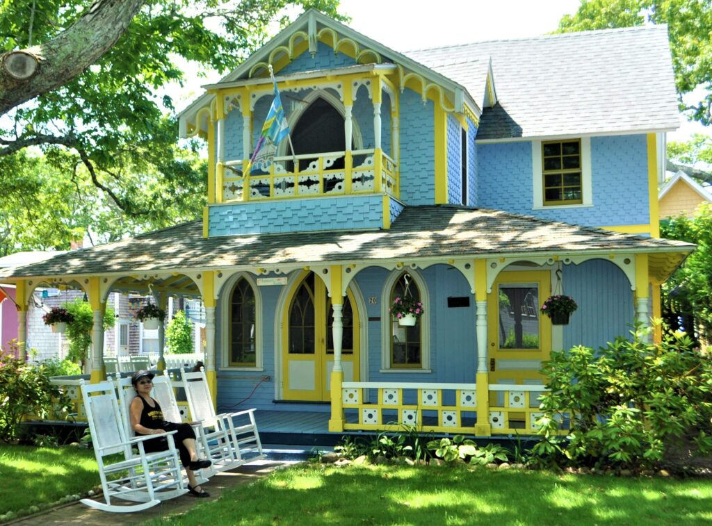 The writer at Gingerbread Cottage in Martha's Vineyard.