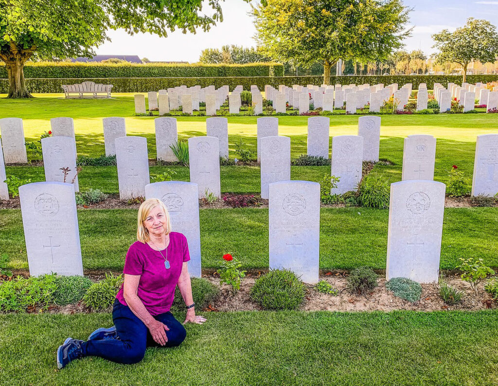The writer at the cemetery for D-Day soldiers.