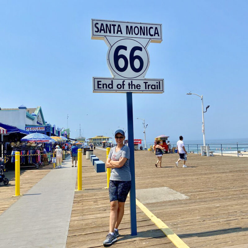 The writer at the pier in Santa Monica, California.