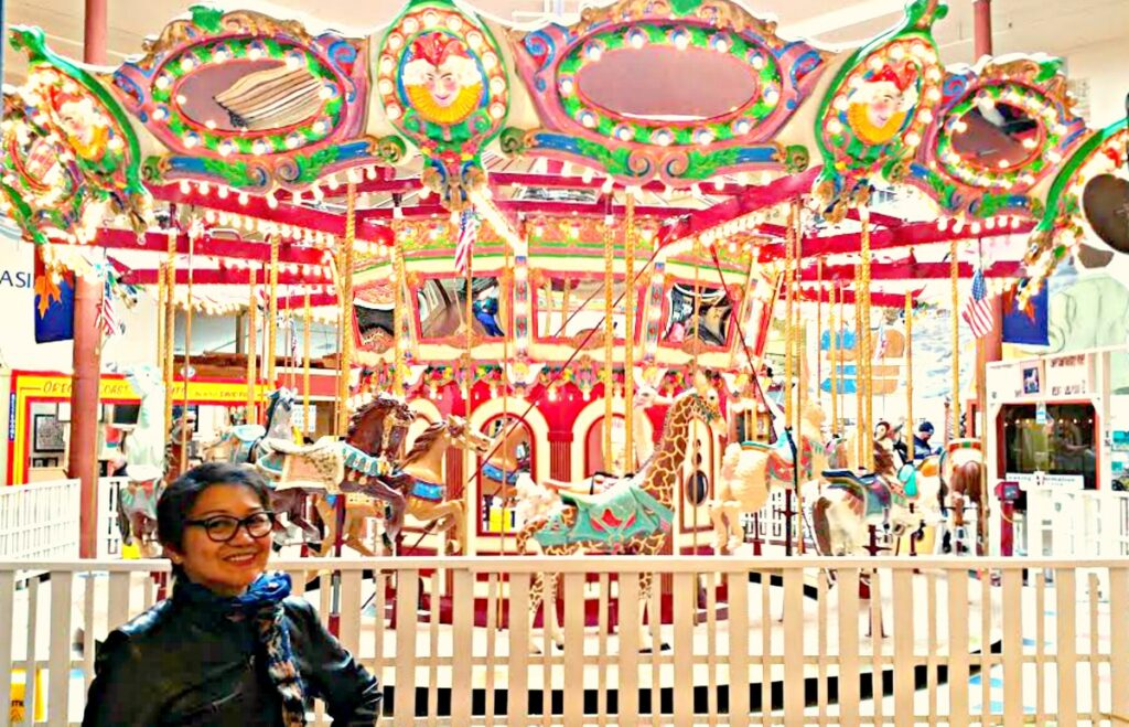 The writer at the Seaside Carousel Mall in Oregon.