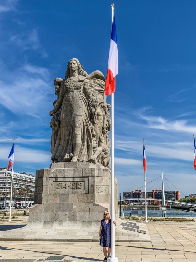 The writer at the War Memorial in Le Havre.