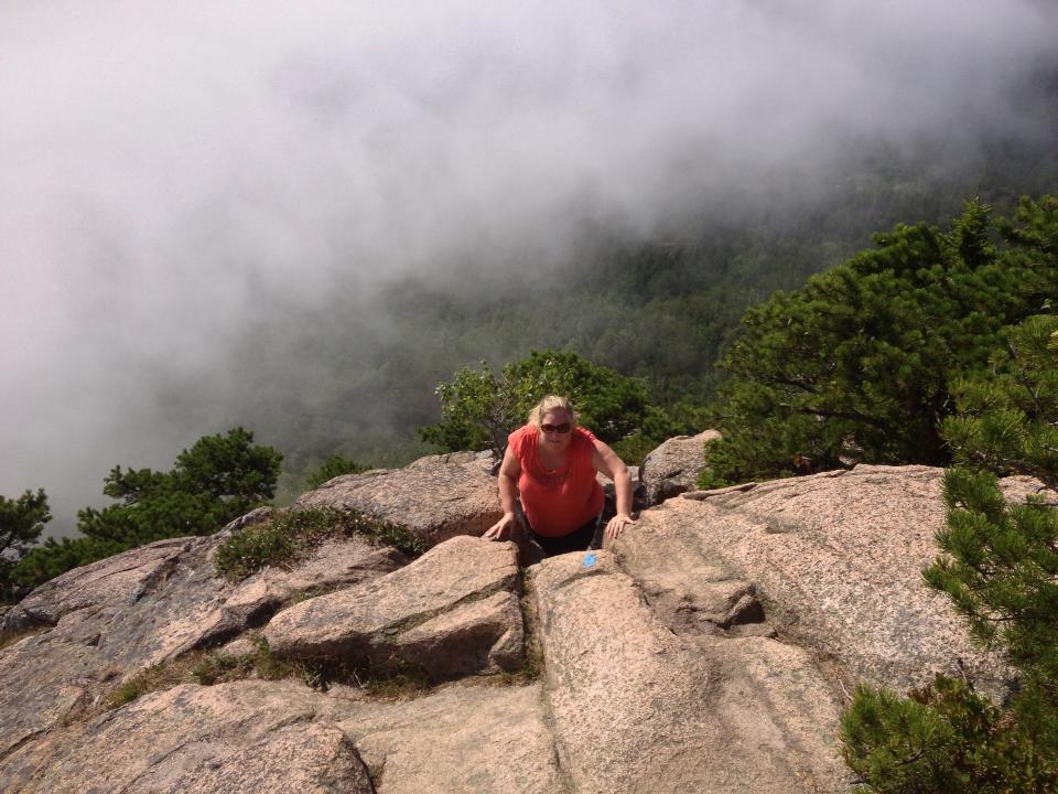 The writer climbing the Beehive Trail.