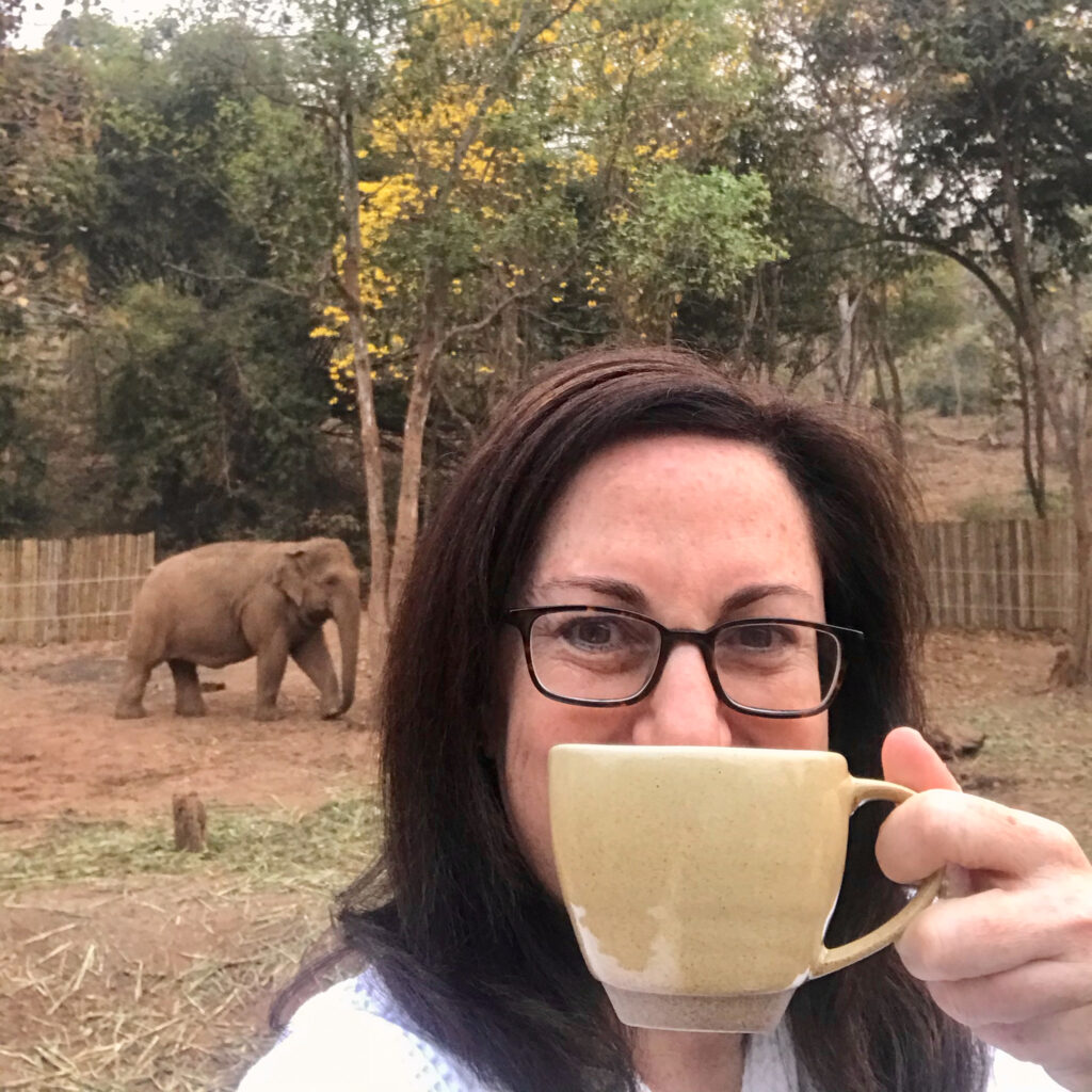 The writer drinking coffee and admiring the elephants.