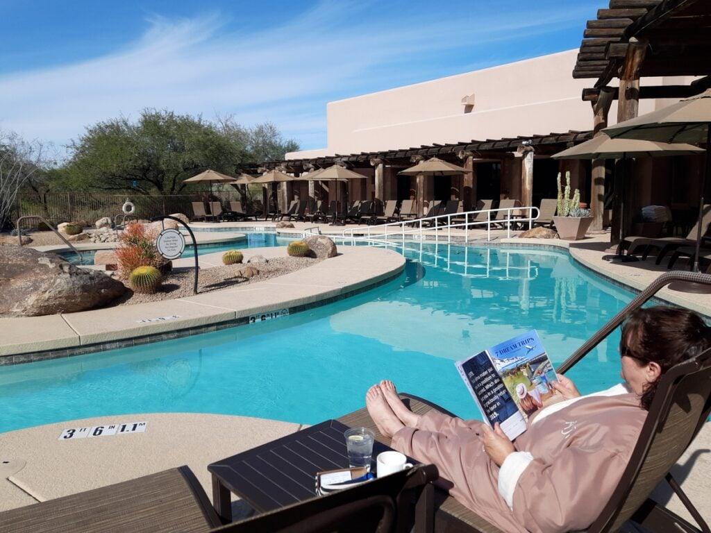 The writer enjoying a spa treatment in Phoenix.