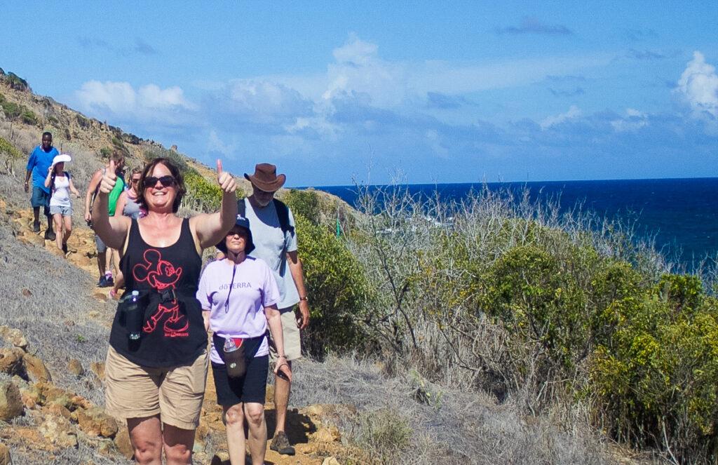 The writer enjoying her hike in St. Maarten.