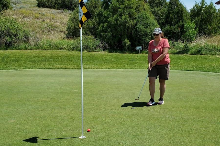 The writer golfing in Medora, North Dakota.