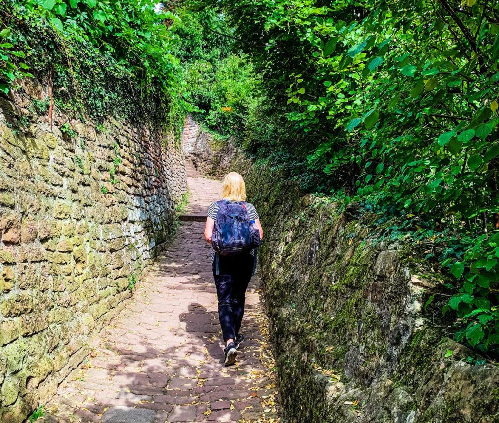 The writer hiking the Philosphers' Walk in Heidelberg.