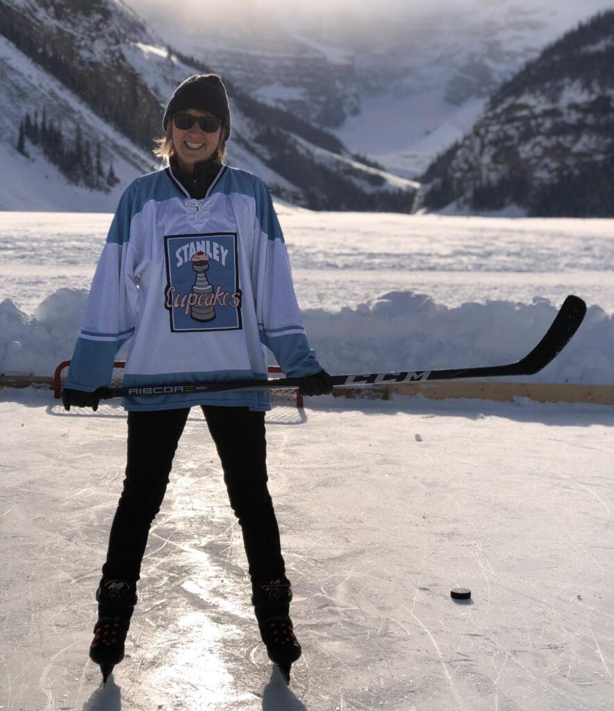 The writer ice skating at Lake Louise.