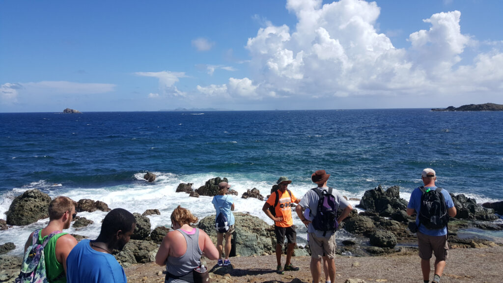 The writer on a group hike in St. Maarten.