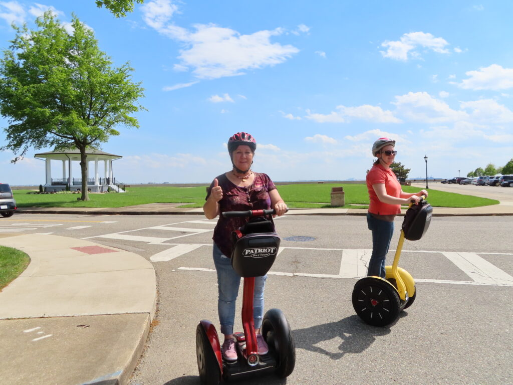 The writer on a segway tour of Fort Monroe.