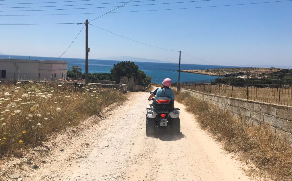 The writer on an ATV in Paros.