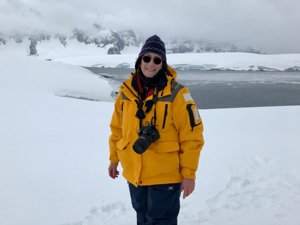 The writer on her solo trip to Antarctica.