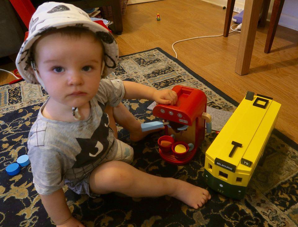 The writer's grandchild with Australia-inspired presents.