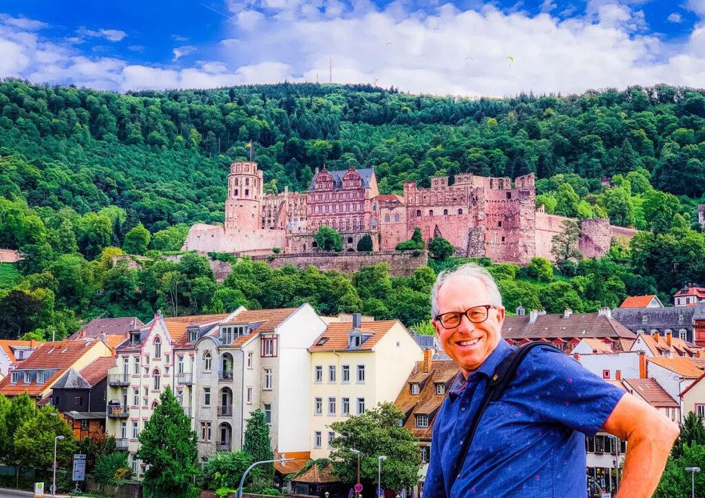 The writer's husband at Heidelberg Castle.