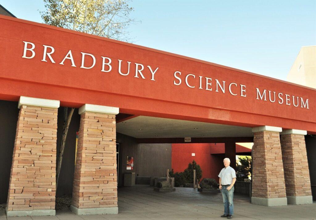 The writer's husband at the Bradbury Science Museum.