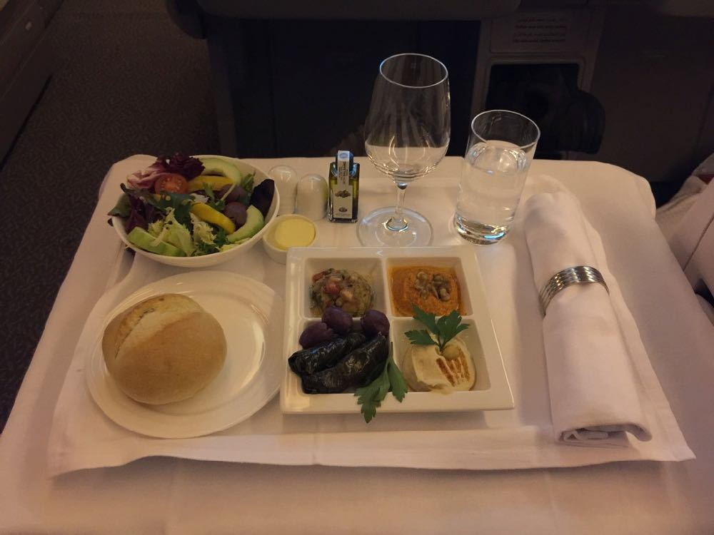 The writer's in-flight meal.