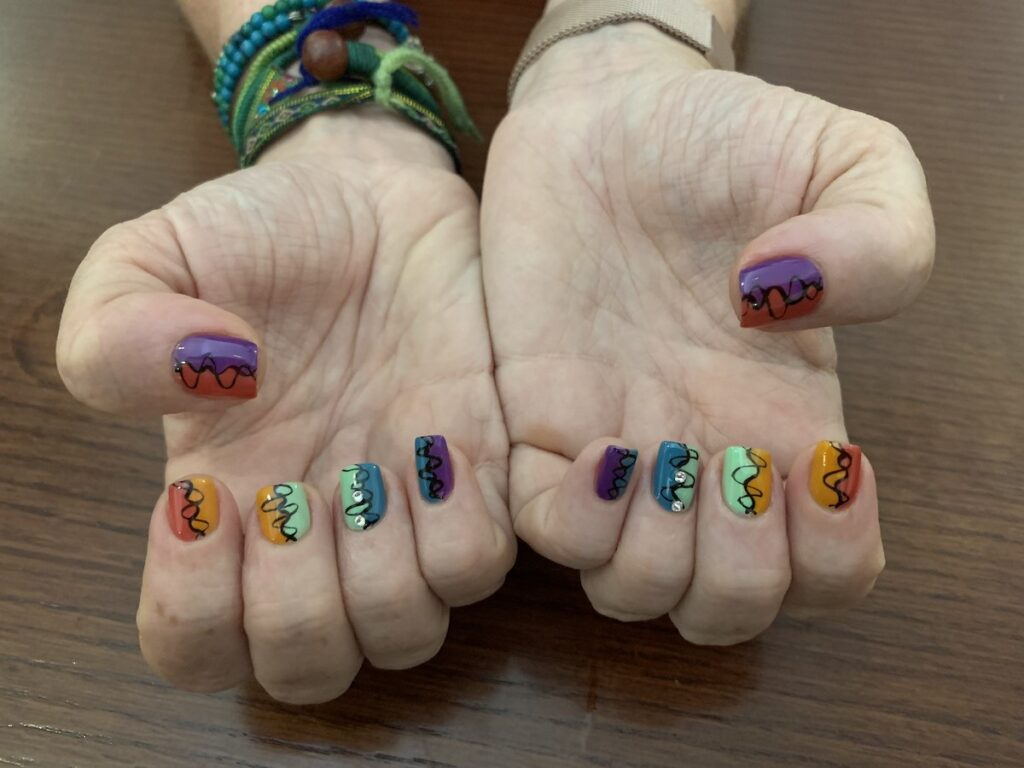 The writer's manicure from Vietnam.