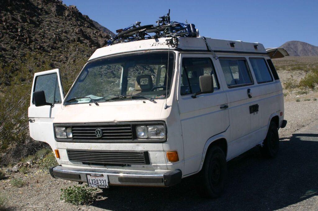 The writer's white van.
