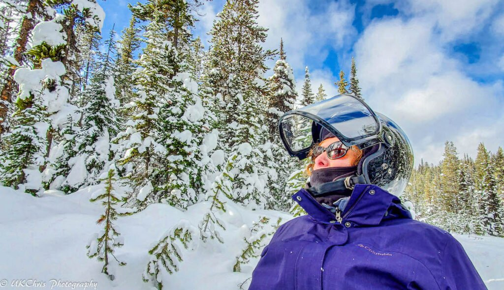 The writer's wife on their snowmobiling adventure.