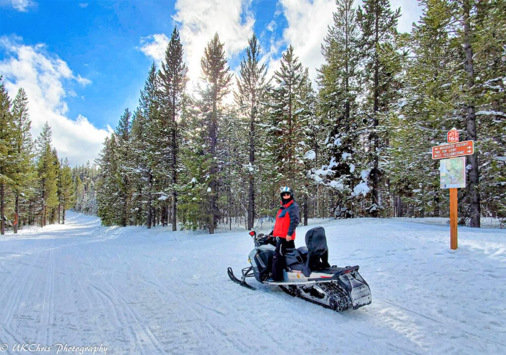 The writer snowmobiling for the first time at the age of sixty.