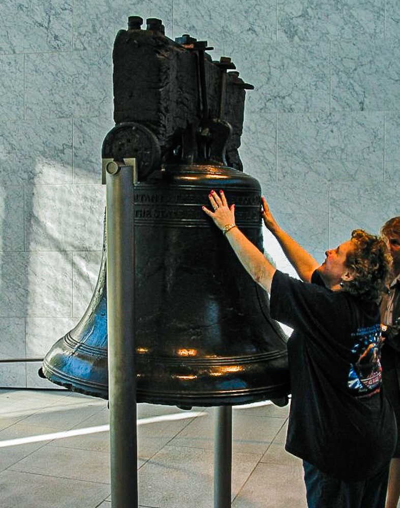 The writer visiting the Liberty Bell in Pennsylvania.
