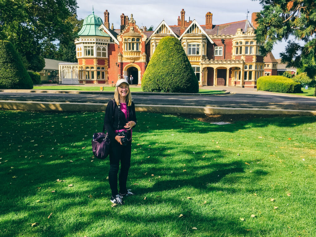 The writer visiting the mansion at Bletchley Park.