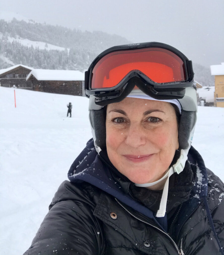 The writer while skiing in the Alps.