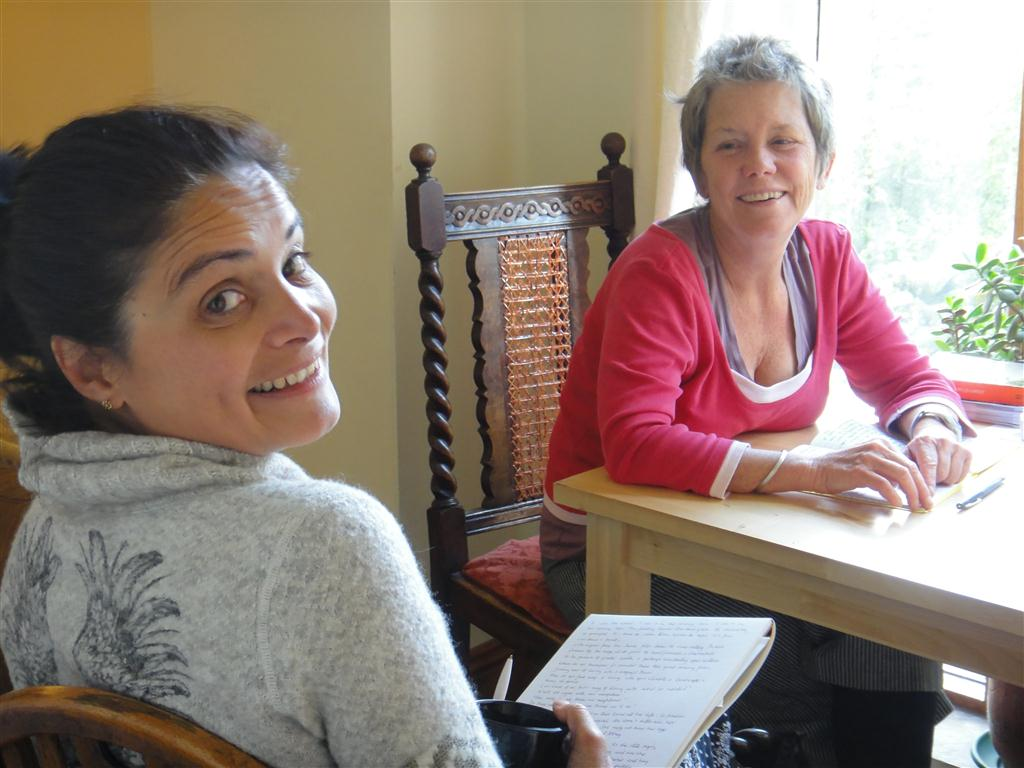 The writer with a new friend on a trip.