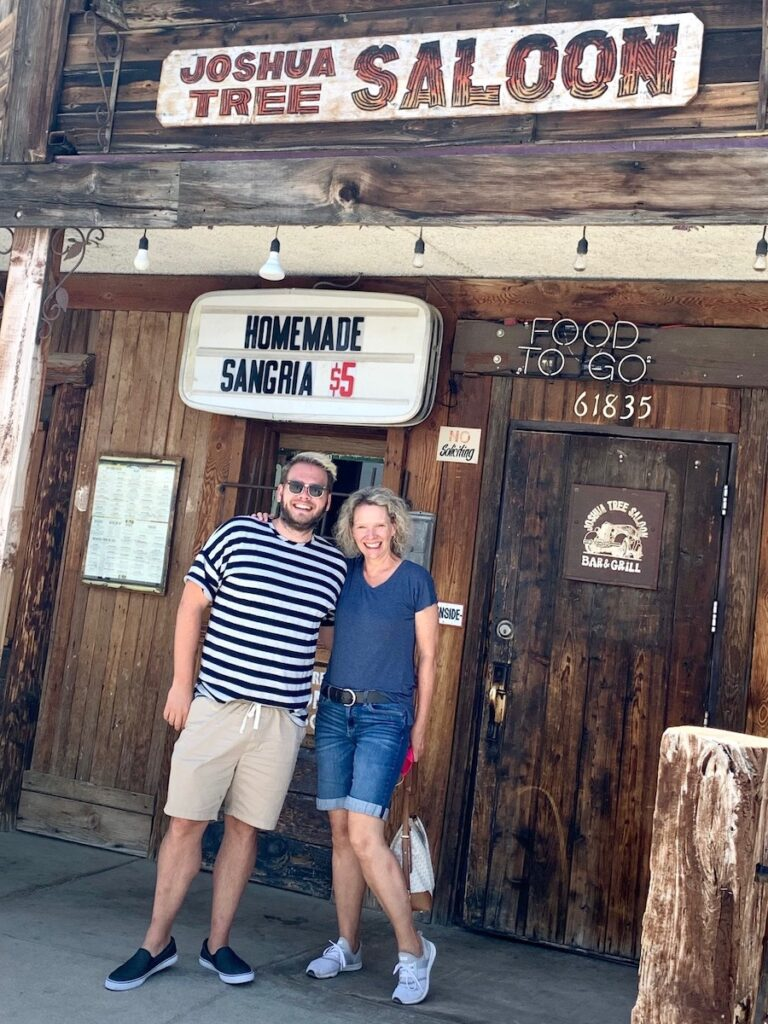The writer with her brother at Joshua Tree Saloon.