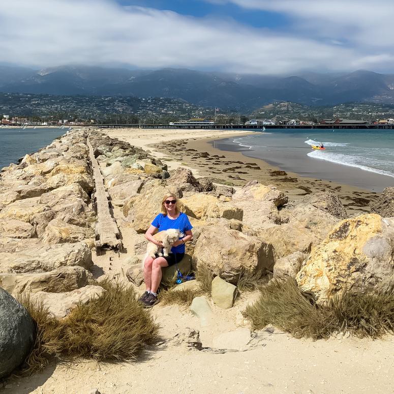 The writer with her dog in Santa Barbara, California.