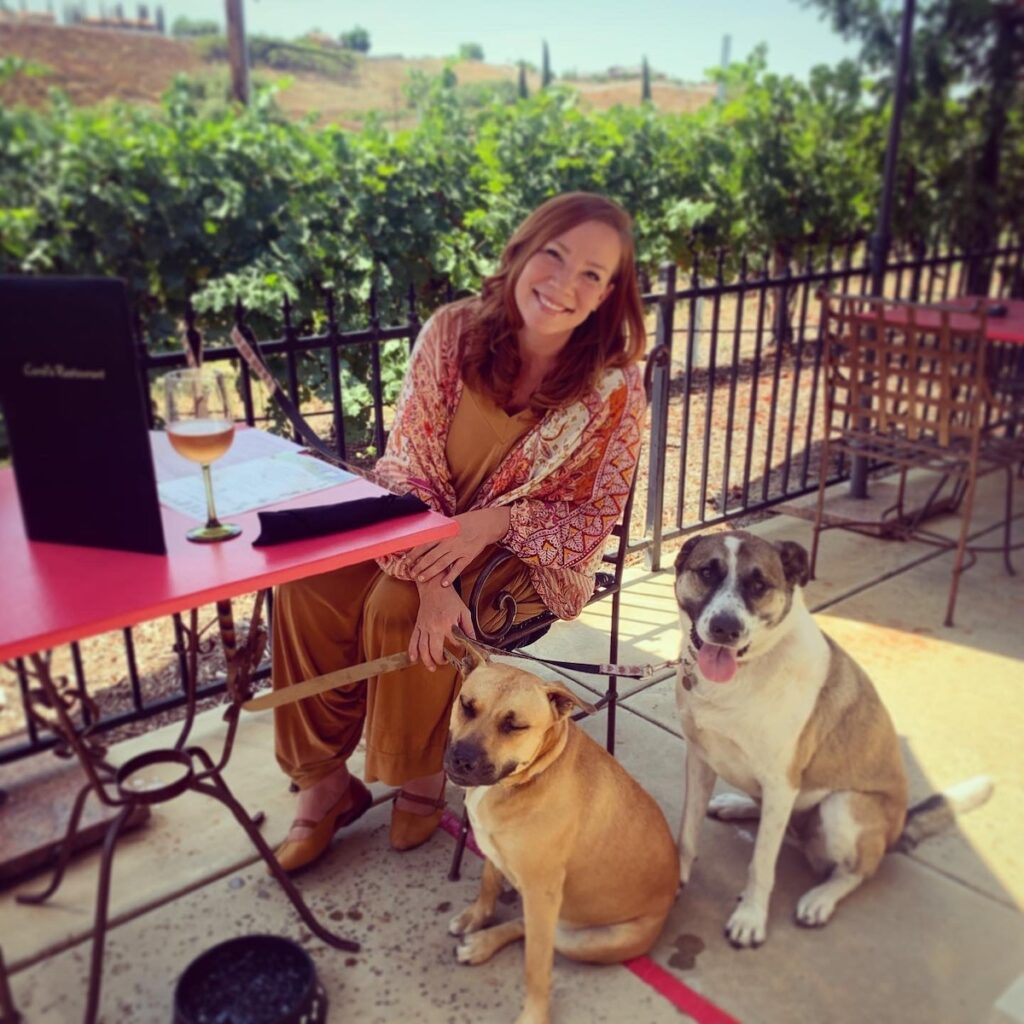 The writer with her dogs.