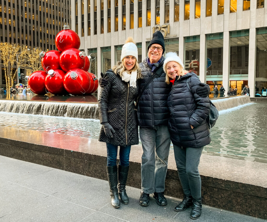 The writer with her husband and daughter in New York City.