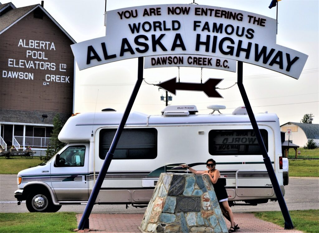 The writer with her husband on an RV trip to Alaska.