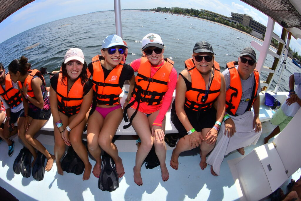 The writer with her snorkeling group.
