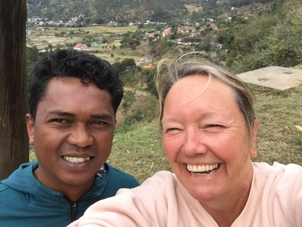 The writer with her tour guide in Madagascar.