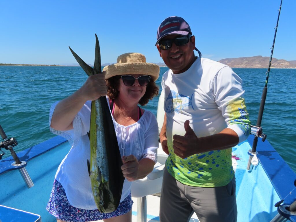 The writer with Poncho on the Sea of Cortez.