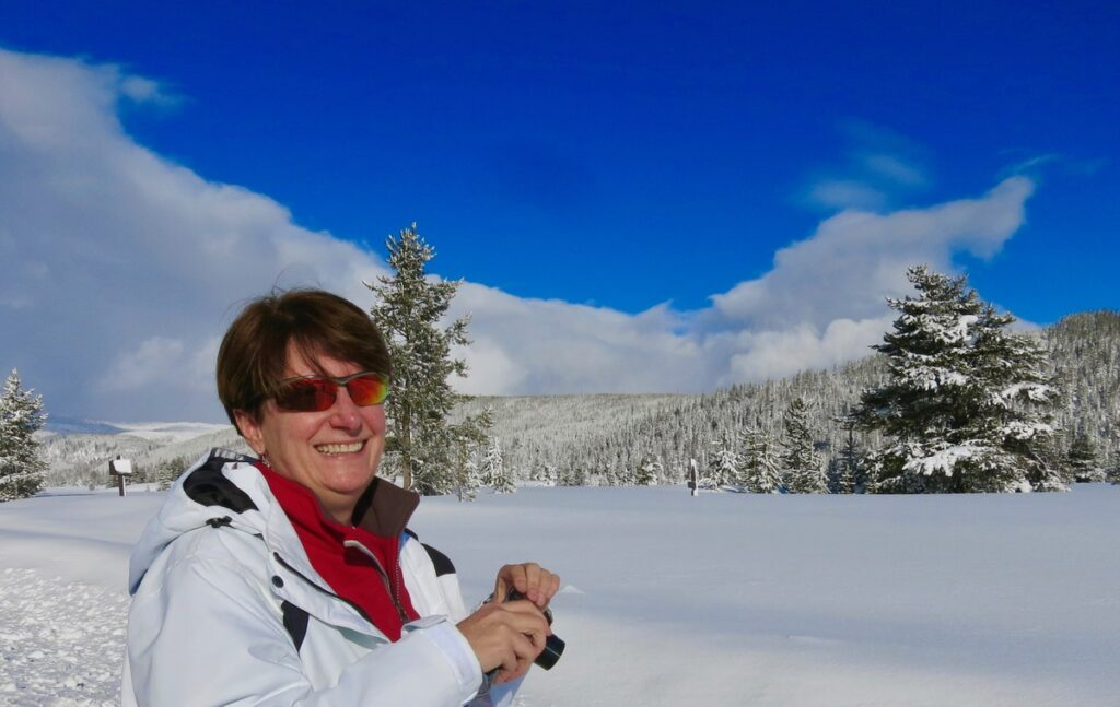 The writers snowshoeing in Montana.