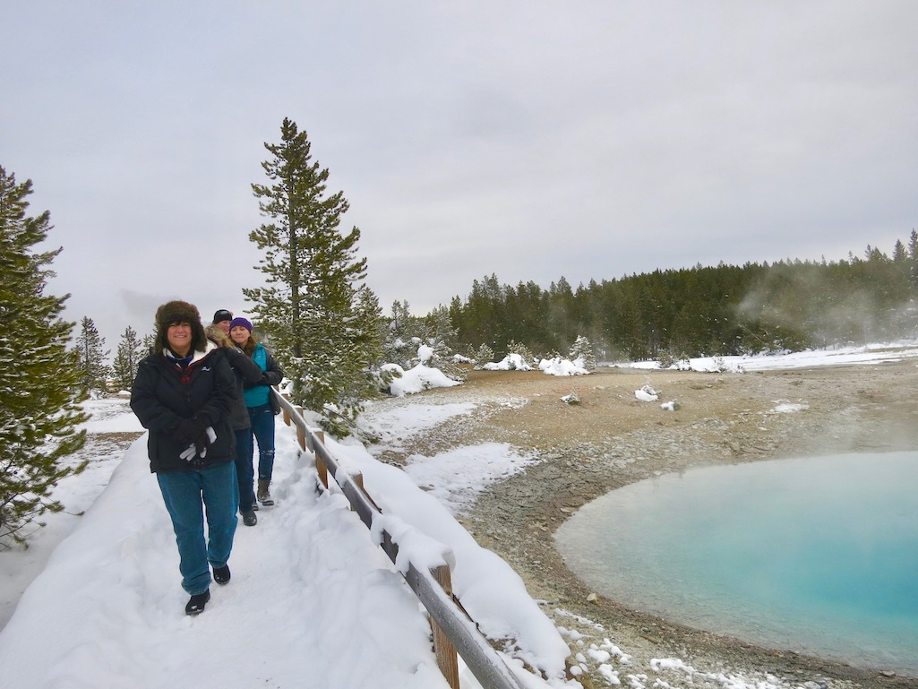 The writers visiting Yellowstone during the winter.