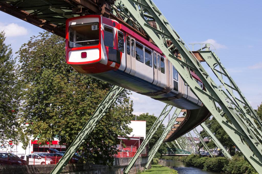 The Wuppertaler Schwebebahn in Wuppertal, Germany.