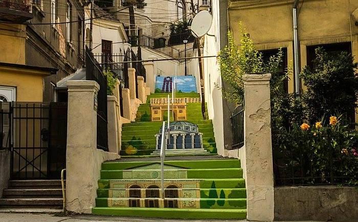 The Xenofon Stairway Street in Bucharest.