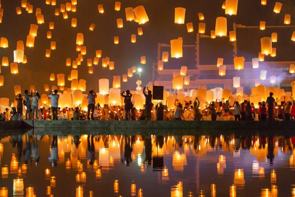 The Yi Peng Lantern Festival in Chiang Mai, Thailand.