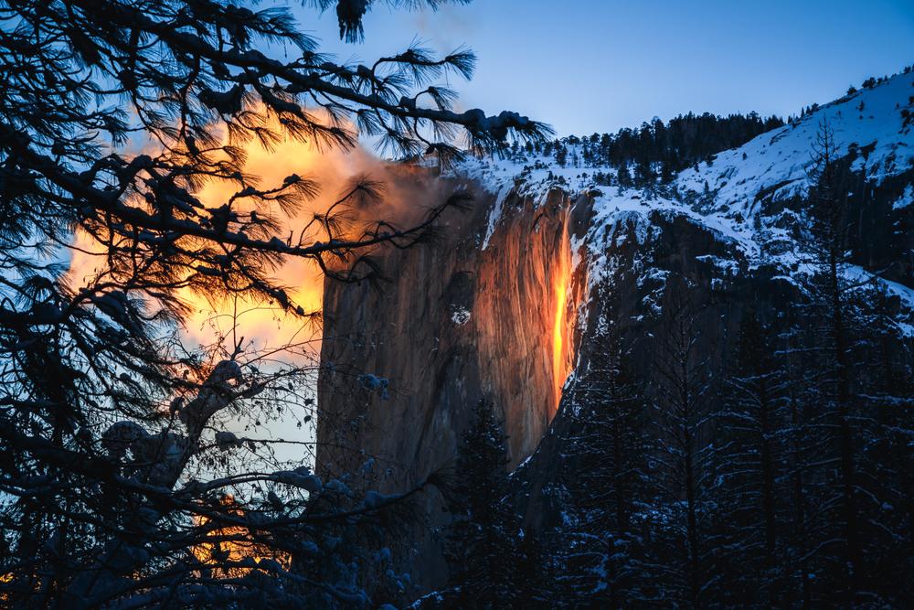 The Yosemite Firefall in Yosemite National Park.