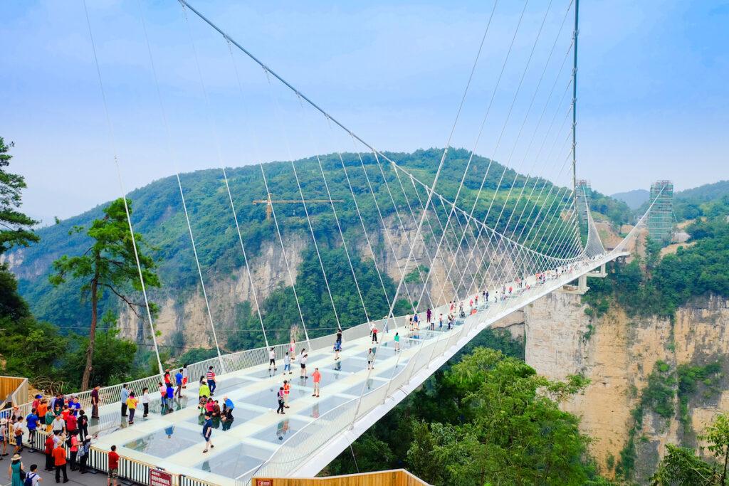 The Zhangjiajie Grand Canyon Glass Bridge in China.