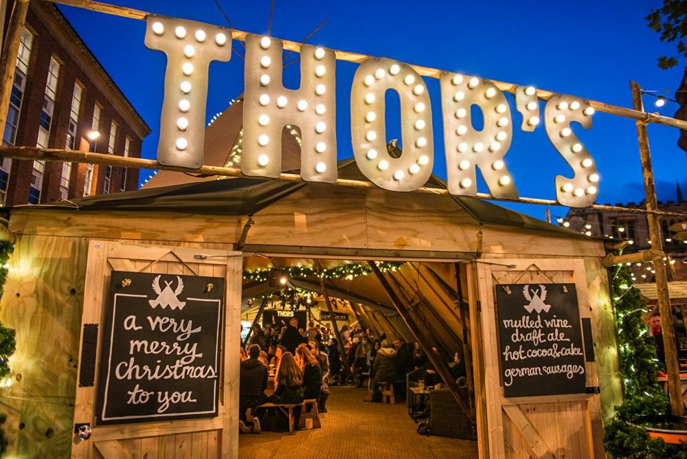 Thor's Tipi Bar in York, England, during Christmas.