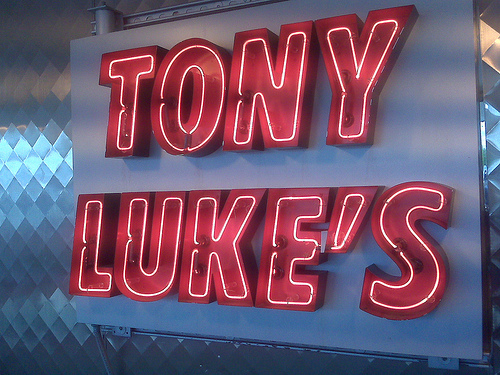 Tony Luke's neon sign.