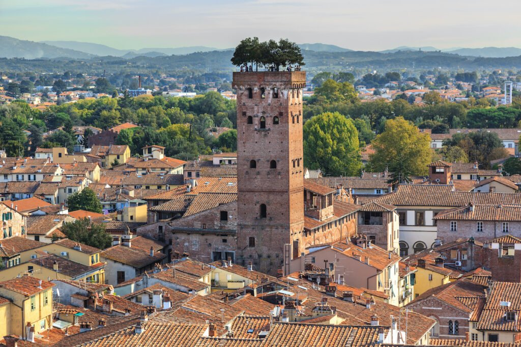 Torre Guinigi, Lucca, Italy. Tuscany town.