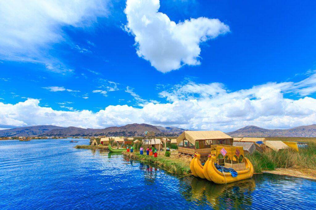 Totora boats on Lake Titicaca.